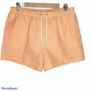 Zara Mens Orange Striped Seersucker Swim Trunks XL